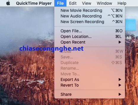 Menu QuickTime Player trên Mac OS